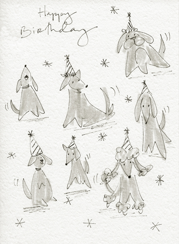 Birthday card front with dog illustrations