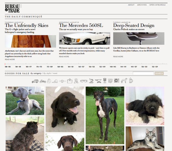 Dogs on the Bureau of Trade Website