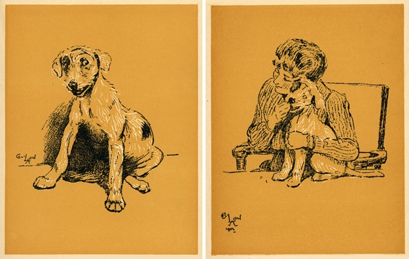 Pup and woman with pup, from Cecil Aldin 1902