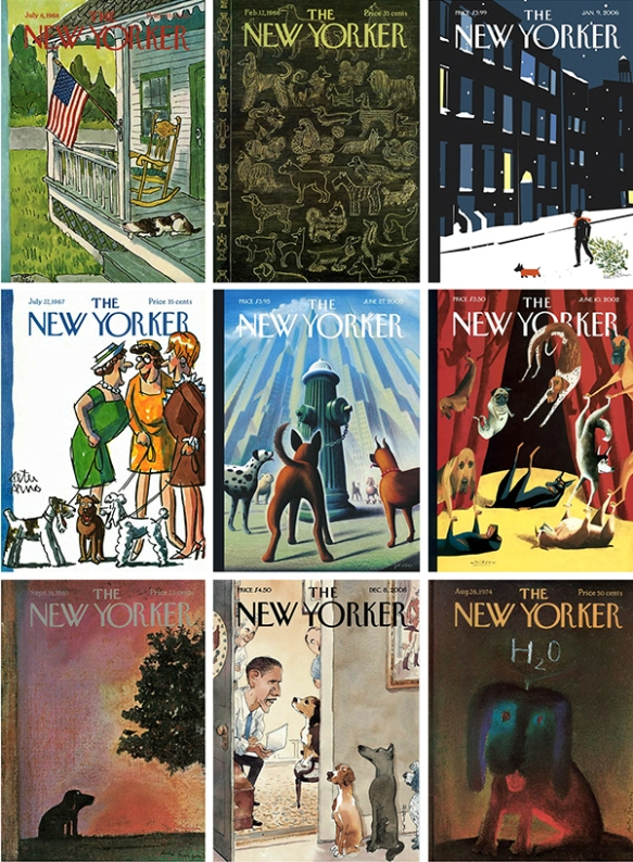 Covers of The New Yorker featuring dogs