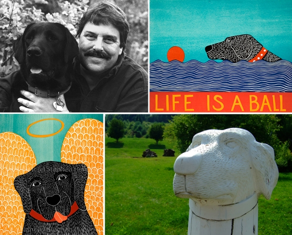 Stephen Huneck with Lab, Woodcuts and Post