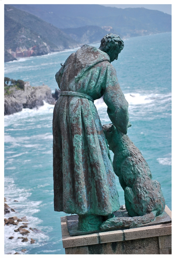 St. Francis of Assisi with dog statue at Monterosso Al Mare, Italy