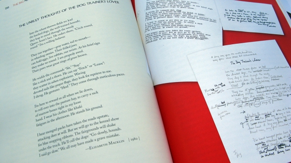 Spread from the book featuring a poem by Elizabeth Macklin