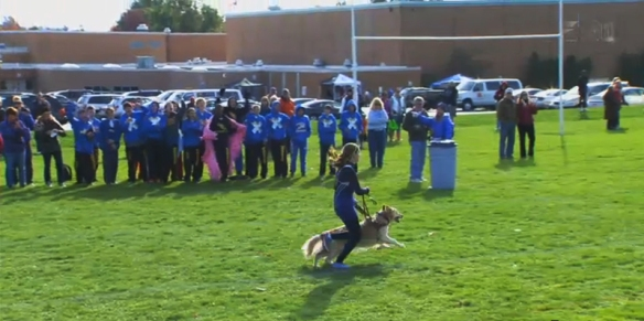 Sami Stoner of Ohio running a cross country race with her dog Chloe