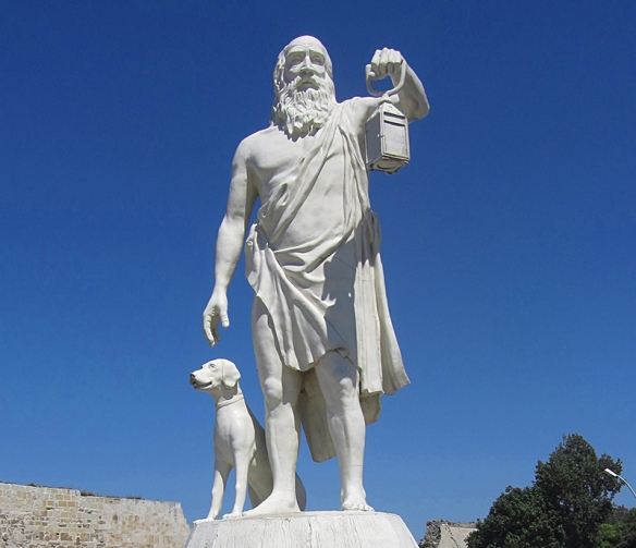 Diogenes statue, with lantern and dog