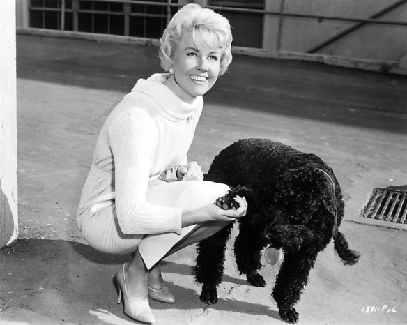 Doris Day with black doggie