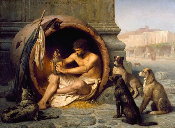Painting of Diogenes in his jar with dogs by Jean-Léon Gérôme