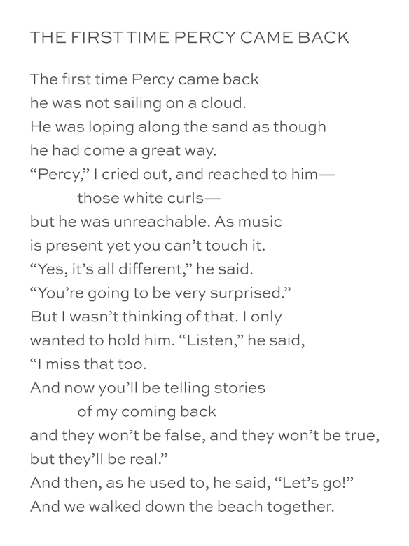 The First Time Percy Came Back, by Mary Oliver
