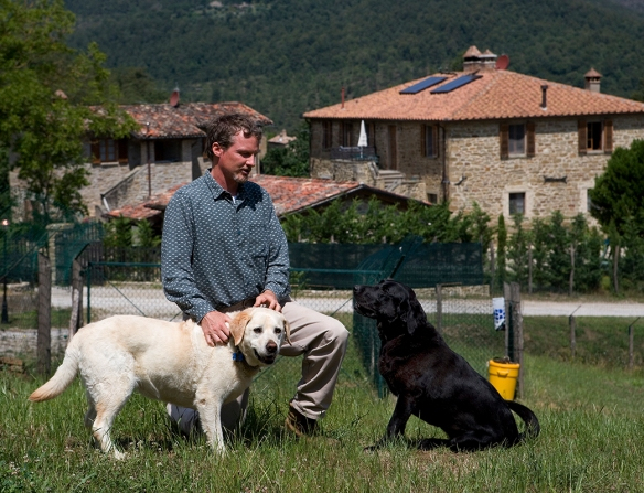 Breon O'Farrell and dogs at Il Cucciolo