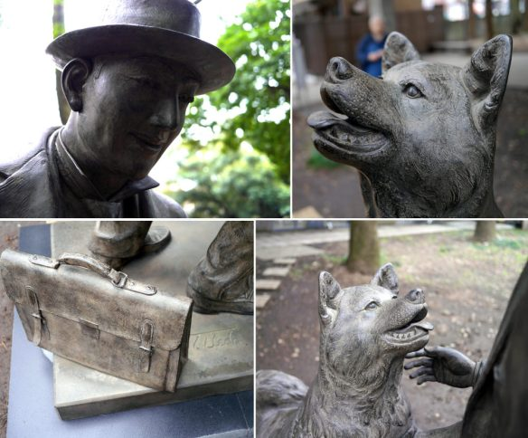 Detail shots of the new Hachiko and Professor Ueno statue in Japan